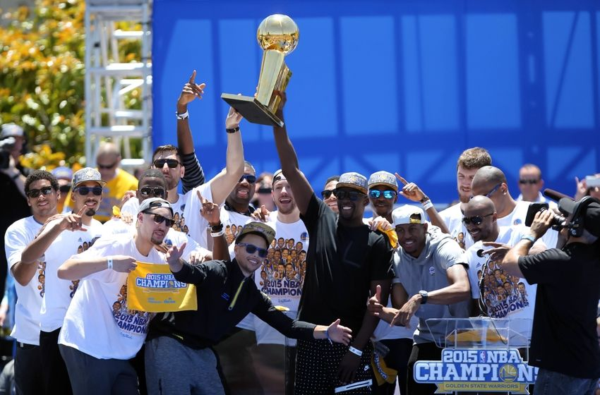 The Golden State Warriors Celebrate their first NBA Championship since 1975