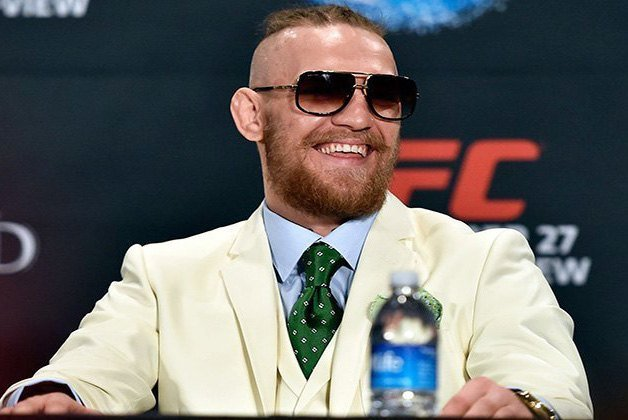 Conor McGregor laughing at a weigh-in