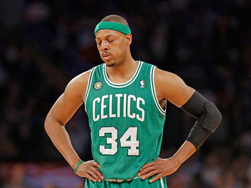 Paul Pierce in Celtics catching a breath