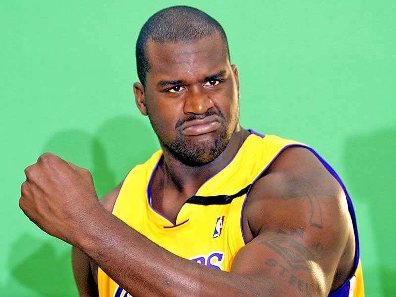 Shaquille O Neal of Los Angeles Lakers posing for a photo shoot