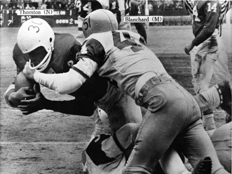 Gotham Bowl game in 1962 with Thornton of Nebraska and Blanchard of Miami