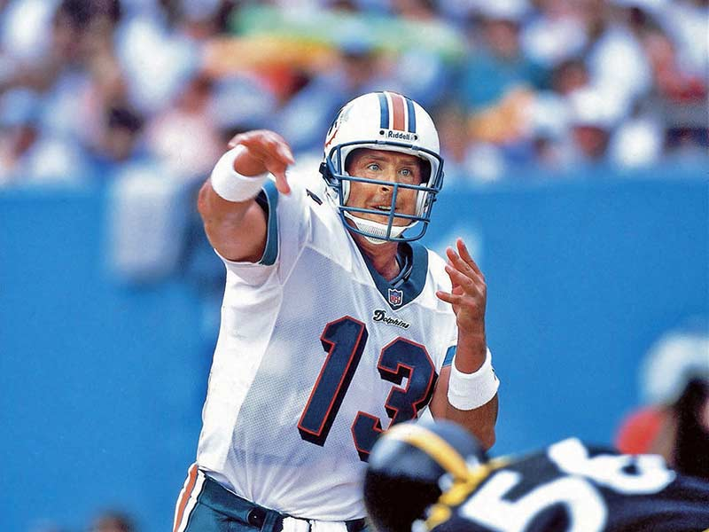 Dan Marino of Miami Dolphins throws the ball
